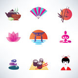 Japanese culture. Set of icons Stock Photo