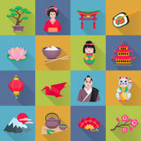 Japanese Culture Symbols Flat Icons Set Stock Photos
