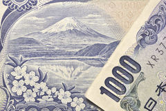 Japanese currency macro Royalty Free Stock Photo