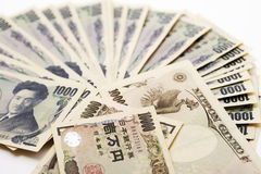 Japanese currency: one thousand yen banknotes Royalty Free Stock Image