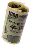 Japanese currency rolled Royalty Free Stock Photo