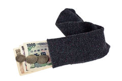 Japanese currency in a sock Royalty Free Stock Photography