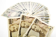 Japanese currency: ten thousand and one thousand yen banknotes Royalty Free Stock Images
