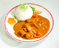 Japanese beef curry with rice. Japanese beef curry style with rice isolated on background Stock Photo