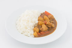 Japanese Curry with rice isolated Royalty Free Stock Photo