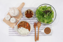 Japanese Curry Rice with salad Royalty Free Stock Photography