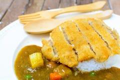 Japanese curry and tonkatsu Royalty Free Stock Photo
