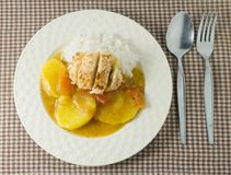 Japanese Curry and Tonkatsu with Steamed White Rice Royalty Free Stock Image