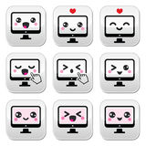 Japanese cute Kawaii character - computer buttons set Royalty Free Stock Photography
