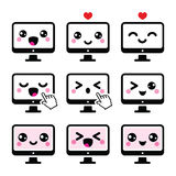 Japanese cute Kawaii character - computer icons set Royalty Free Stock Photography