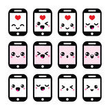 Japanese cute Kawaii character - mobile or cell phone icons set Stock Photo