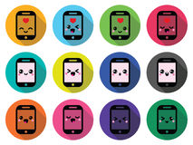 Japanese cute Kawaii character - mobile or cell phone icons set Royalty Free Stock Photos
