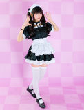 Japanese cute lolita maid. It's a asia/japanese cute lolita maid in pink background stock photo