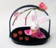 Japanese Cute Rabbit Decoration. Japanese Rabbit Theme Sakura Flower Decoration Set stock photography