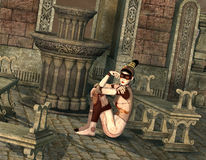 Japanese cyborg girl sitting in a temple Stock Photos