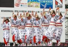 Japanese Daihanya Festival dancers. Kagoshima City, Japan, April 26, 2008. Dancers in yukata kimono performing onstage in the Daihanya Festival held in Kagoshima stock photos