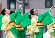 Japanese Daihanya Festival dancers Royalty Free Stock Photo