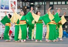 Japanese Daihanya Festival dancers. Kagoshima City, Japan, April 26, 2008. Dancers in yukata kimono performing onstage in the Daihanya Festival held in Kagoshima stock photography