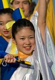 Japanese Daihanya Festival dancers. Kagoshima City, Japan, May 3, 2007. Dancers in blue, yellow, and silver costume performing in the Daihanya Festival held in stock photo