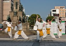 Japanese Daihanya Festival dancers Royalty Free Stock Photos