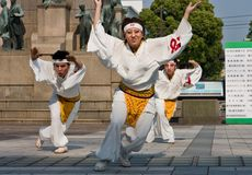 Japanese Daihanya Festival dancers Royalty Free Stock Images