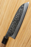 Japanese damascus carbon steel knife Stock Photography