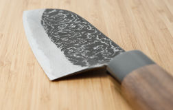 Japanese damascus carbon steel knife Stock Images