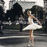 Ballet dancer open air performance royalty free stock image