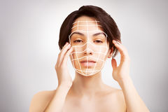 Japanese dark haired model portrait with skin surgery mark isol Stock Photo