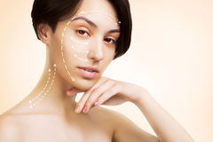 Japanese dark haired model portrait with skin surgery mark isola. Gorgeous japanese dark haired model portrait with skin surgery mark isolated on white Royalty Free Stock Image