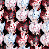 Japanese deamon fox pattern Stock Photo