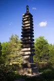 Japanese decorative column with the image of Buddha. Spring composition in the Japanese Garden Stock Images