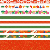 Japanese decorative lines. Set of Japanese lines.  New Year's decoration Royalty Free Stock Photo