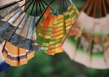 Japanese decorative wooden hand fan background stock photos