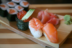 Japanese delicacies. Plate with the Japanese delicacies and seasonings Stock Photography