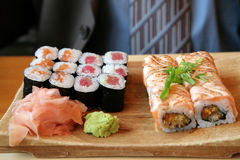 Japanese delicacies. Plate with the Japanese delicacies and seasonings Royalty Free Stock Photography