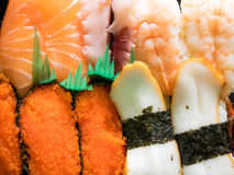 Japanese delicious sushi in lunch box set. Royalty Free Stock Image