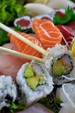 Japanese delight. This is a close up view of a Japanese dish including several pieces of sushi Stock Photo