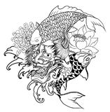 Japanese Demon mask and carp fish tattoo design.hand drawn Oni mask with chrysanthemum flower and koi fish with lotus tattoo. Coloring book japanese style Stock Photography