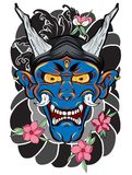 Japanese demon mask tattoo for arm. hand drawn Oni mask with cherry blossom and peony flower. Japanese demon mask on wave and saku. Hand drawn Oni mask with vector illustration
