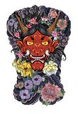 Japanese Demon`s mask tattoo design full back body.The Oni mask with water splash and peony flower,cherry blossom. And peach blossom on cloud background Stock Photos