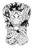 Japanese Demon`s mask tattoo design full back body.The Oni mask with water splash and peony flower,cherry blossom. And peach blossom on cloud background Royalty Free Stock Photos