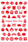 Japanese design icons. new year card. Royalty Free Stock Image