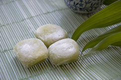 Japanese dessert. Three of Japanese dessert Daifugu-mochi green tea Royalty Free Stock Image