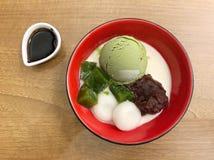 Japanese dessert. Mochi green tea ice cream stock images