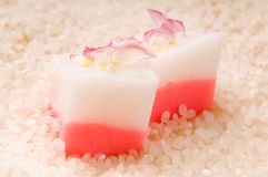 Japanese dessert, Mochi with rose Royalty Free Stock Image