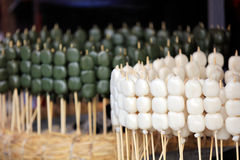 Japanese dessert rows on haystack Royalty Free Stock Photos