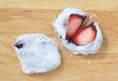 Japanese Dessert of Strawberry Mochi or Ichigo Daifuku Royalty Free Stock Photos