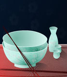 Japanese Dinnerware. Lovely empty set of Japanese Dinnerware,with spring flowers Stock Image