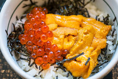 Japanese dish of salmon roe and urchin eggs Royalty Free Stock Images